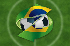 Soccer ball inside exchange symbol with Brazil flag. Stock Photo