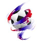 Soccer ball inside paint smears with Flag of Russia print royalty free illustration