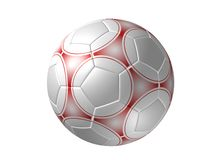 Soccer ball isolated, red Royalty Free Stock Image