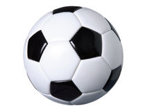 Soccer ball isolated on white with clipping path. A black and white soccer ball isolated on a white background with clipping path royalty free stock photography