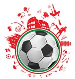 Soccer ball with italian symbol. In the circle Stock Images