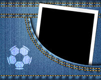Soccer ball on jeans and blank photo frame in blue jeans pocket Stock Photography