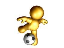 Soccer ball kick. Icon figure playing and kicking soccer ball Royalty Free Stock Photo
