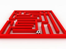 Soccer-ball in the labyrinth. Isolated on white background. 3D Royalty Free Stock Photography