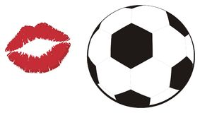 Soccer ball and kiss. Soccer ball with large red lipstick kiss stock illustration