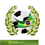 Soccer Ball with Laurel Wreath in Brazil 2014. Brazil 2014, A Soccer Ball with Olive Laurel Wreath of Final Football Tournament at Brazil Championship Stock Photography