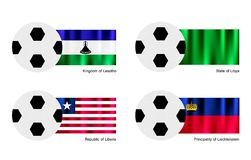 Soccer Ball with Lesotho, Libya, Liberia and Liech Stock Image