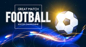Soccer Ball with Light Effects. Football Power Design. Vector illustration Stock Images