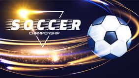 Soccer Ball with Light Effects. Football Power Design. Vector illustration Stock Photo
