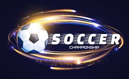 Soccer Ball with Light Effects. Football Power Design. Vector illustration Royalty Free Stock Photo