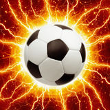 Soccer ball, lightnings Stock Image