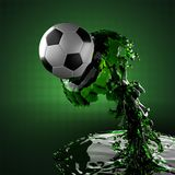 Soccer ball in liquid Stock Photography