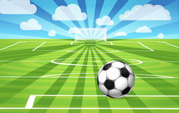Soccer ball lying on the grass. Of the game field Stock Illustration