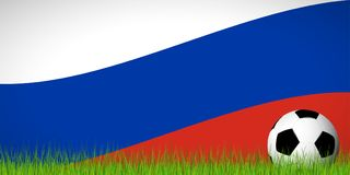 soccer ball in front of russian flag Royalty Free Stock Image