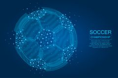 Soccer ball made of points, lines and illuminated polygonal shapes. Football ball on blue background with glowing stars. stock illustration