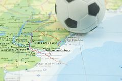 Soccer ball on map Stock Photo