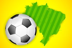Soccer ball with map of Brazil Stock Photo