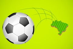 Soccer ball with map of Brazil Stock Images