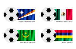 Soccer Ball with Marshall Islands, Mexico, Maurita Royalty Free Stock Image