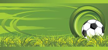 Soccer ball on the meadow. Decorative banner Royalty Free Stock Photo