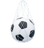 Soccer ball in the mesh bag  on white background. 3d ren Stock Photo