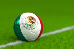 Soccer Ball With Mexican Flag 3D Render Royalty Free Stock Photo