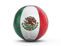 Soccer ball Mexico flag. On a white background. 3D illustration Stock Images