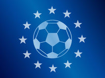 Soccer ball in the middle of European Union flag. Football vector background. Royalty Free Stock Photography