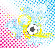 Soccer ball modern template. Vector illustration of a soccer ball in black and white with yellow, cyan and magenta accents. It has hand drawn ornaments as well vector illustration