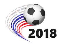 Soccer ball with in motion. colors of the Russian flag. Soccer ball with flags of different countries in motion. colors of the Russian flag. 2018 year Royalty Free Stock Image