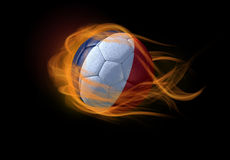 Soccer ball with the national flag of France, making a flame. Soccer ball with the national flag of France on fire Royalty Free Stock Photography