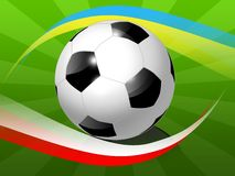 Soccer ball with national stripes. Of Ukraine and Poland Royalty Free Stock Image