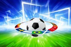 Soccer ball, national team flags Stock Photo