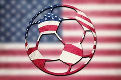 Soccer ball national USA flag. American football ball. Football royalty free stock photos