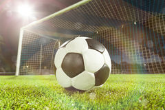 Soccer ball near goal Stock Image