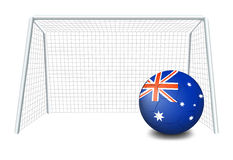 Soccer ball near net with the flag of Australia Royalty Free Stock Image