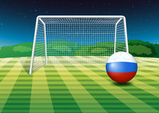 Soccer ball near the net with flag of Netherlands Stock Photography