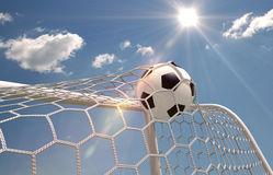 Soccer ball in the net Stock Photography
