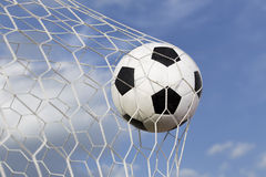 soccer ball in the net Royalty Free Stock Photo