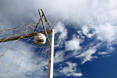 Soccer ball in the net Royalty Free Stock Images
