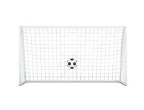 Soccer ball in net front view  on white background. 3d r. Soccer ball in net front view  on white background. Soccer ball and football gate. 3d rendering Royalty Free Stock Photo