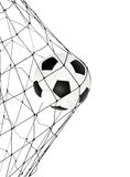 Soccer ball in the net gate. On a white background Stock Image