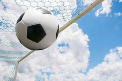Soccer ball in net. Royalty Free Stock Images