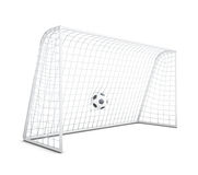 Soccer ball in net isolated on white background. 3d rendering. Soccer ball in net isolated on white background. Football gate. 3d rendering Royalty Free Stock Photography