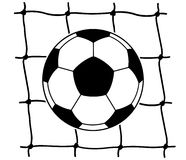 Soccer ball and net black and white Stock Images