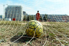 Soccer ball in the net royalty free stock photography