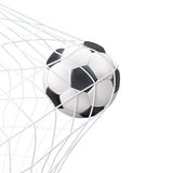 Soccer Ball In The Net Pictogram. Soccer game match goal moment with ball in the net black white picture vector illustration Stock Photos