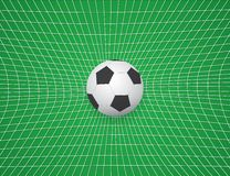 Soccer Ball In Net. Vector Illustration. On Green Background Royalty Free Stock Photography
