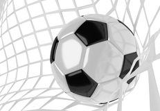 Soccer ball in net. Soccer ball in white net. Goal action as a symbol of competition and scoring. 3D illustration Royalty Free Stock Photo