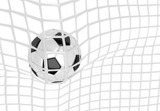 Soccer ball in net. Soccer ball in white net. Goal action as a symbol of competition and scoring. 3D illustration Royalty Free Stock Photos